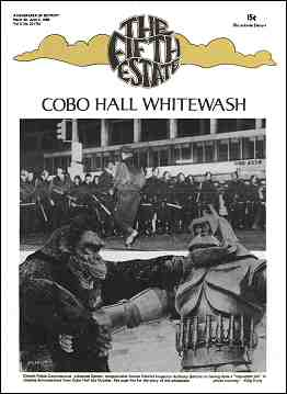 """Cover imate, Issue 75, March 20-April 2, 1969. Headline reads, """"Cobo Hall Whitewash."""" Photo shows Detroit riot police in formation prior to brutal clearing of protesters. Below is a photo montage of images from a monster movie. Caption reads, """"Detroit Police Commissioner Johannes Spreen congratulates former District Inspector Anthony Bertoni on having done a 'top-notch job' in clearing demonstrators from Cobo Hall last October. See page 5 for the story of the whitewash."""" Photo courtesy King Kong"""